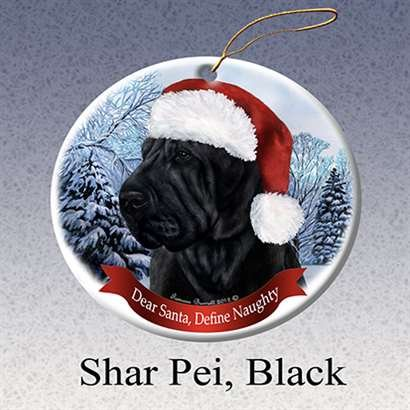 Holiday Pet Gifts Shar Pei, Black Santa Hat Dog Porcelain Christmas Ornament