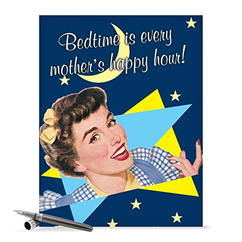 J0225 Jumbo Funny Mother's Day Card: Bedtime Is Happy Hour With Envelope (Extra Large Version: 8.5'' x 11'')
