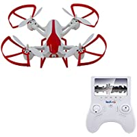 TechRC TR003 Hornet 6-Axis Gyro 5.8G FPV Quadcopter RC Drone with 2.0MP HD Camera Live Video with 4.3 Display Screen, Altitude Hold Headless 3D Flips One Key Return Bonus Battery Version - White