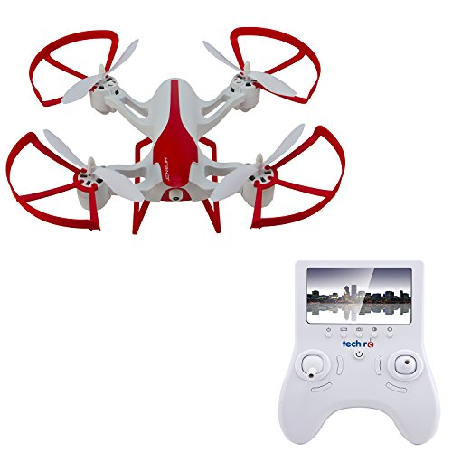 TechRC TR003 Hornet 6-Axis Gyro 5.8G FPV Quadcopter RC Drone with 2.0MP HD Camera Live Video with 4.3″ Display Screen, Altitude Hold Headless 3D Flips One Key Return Bonus Battery Version – White
