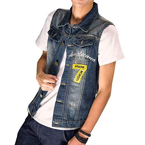 En Tops Gilet Splice Lettre 7 Déchiré Jean Vêtements Jeans Boucle Rmellos Imprimé Slim Vest Colour Cowboy Veste Fit Metal Denim g6Y87Wq5w