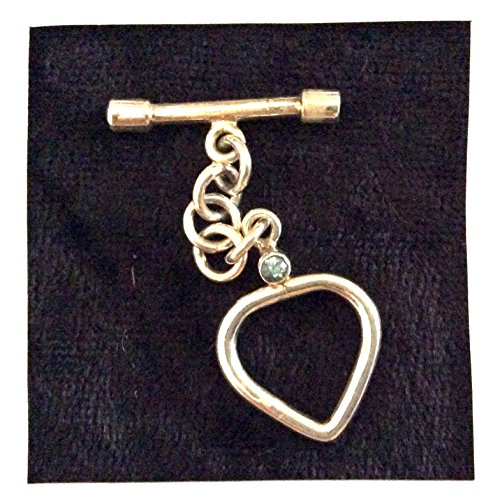 (Imagine If...925 Sterling Silver Bali Style Toggle-Heart with Small Aquamarine Stone)