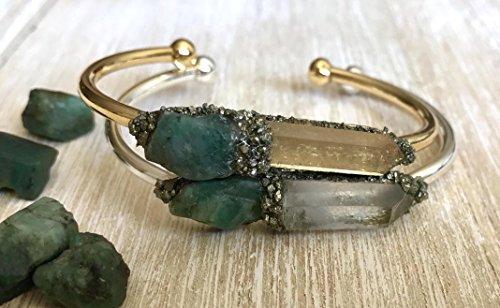 ne bracelet gemstone bangle crystal cuff birthday raw boho jewelry stone ()