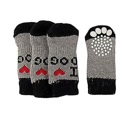 Switty Zapatos Invierno Acanalado Hem acrílico Usar Calcetines para Perro de Mascota