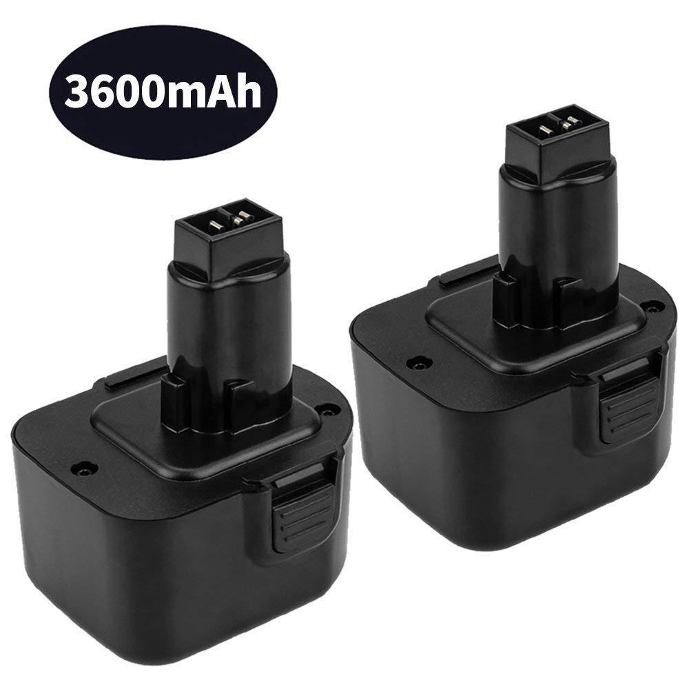 Dosctt 3.6Ah Ni-Mh DC9071 Battery for Dewalt 12V Battery DW9071 DW9702 DE9037 DE9071 DE9072 DE9074 DE9075 XRP 12 Volt Cordless Power Tool 2 Pack