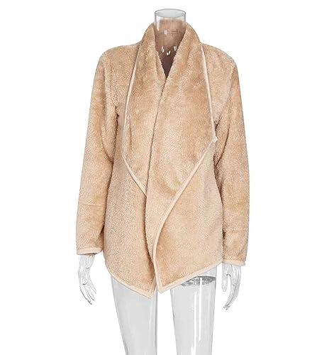 Zhiyuanan Mujeres Loose Color Sólido Abrigos Moda Calor Grueso Coats Mangas Largas Solapa Chaquetas Outwear Sin Cinturón