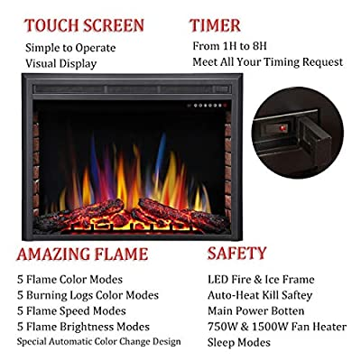 R.W.FLAME Electric Fireplace Insert,Traditional Antiqued Build in Recessed Electric Stove Heater,Touch Screen,Remote Control,750W-1500W with Timer & Colorful Flame Option …