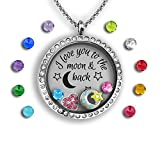 Mother Daughter Necklace Set I Love You To The Moon And Back Necklace Mother Daughter Gifts Floating Charm Necklace Father Daughter Gifts Charm Necklace For Girls | Mom And Daughter Necklace from Mom