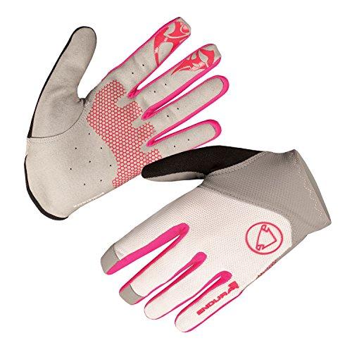 Endura Womens SingleTrack Lite Full Finger Glove White/Pink, Medium