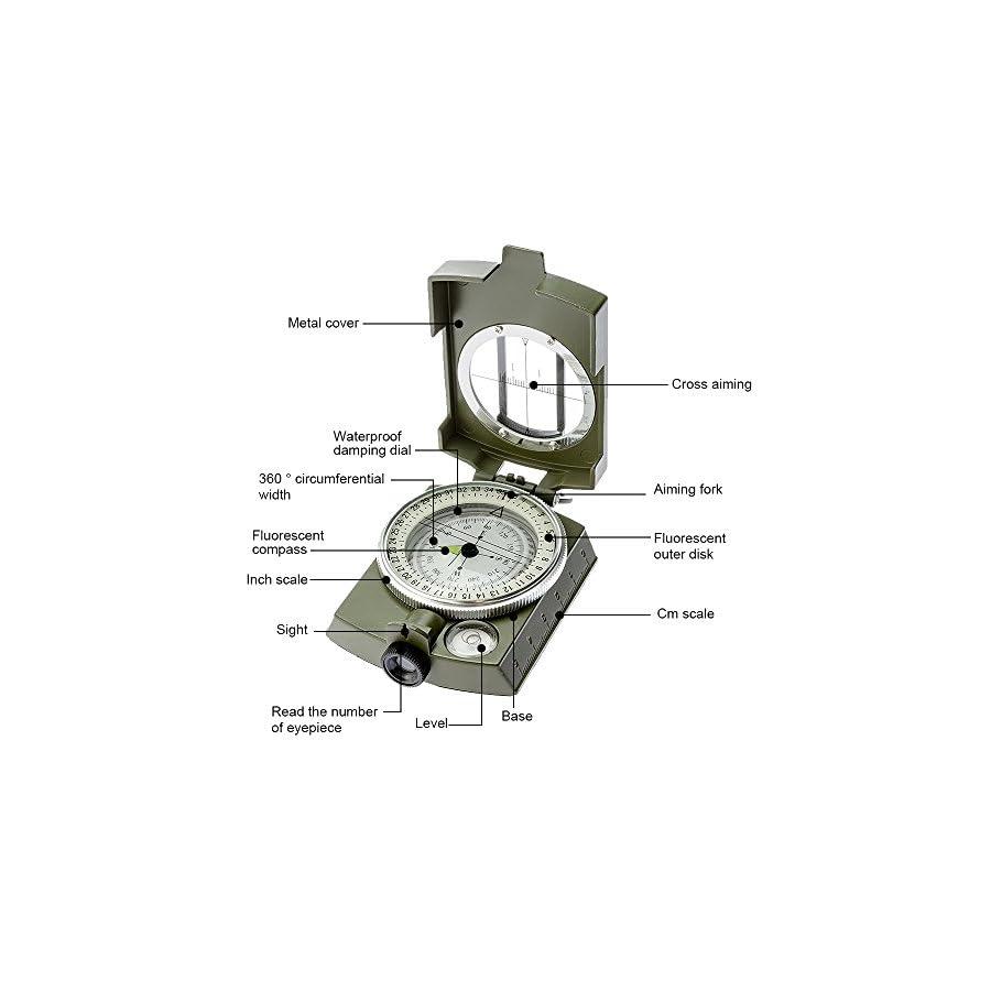 Compass,Banne Metal Waterproof Compass,Camping Compass Fluorescent Pointer Compass(Army Green)