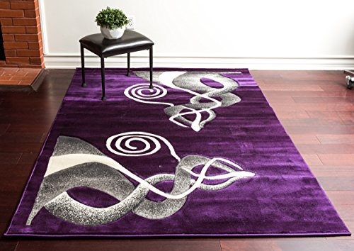 - Homemusthaves Super Soft Swirls Floral 3-Dimentional Modern Contemporary Polyester Area Rug Carpet Living Room Bedroom Rug Carpet Floor Hand Carved Rug Carpet (2'x7'2, Purple)