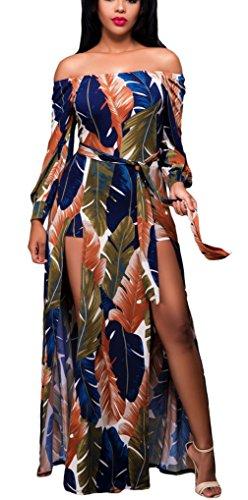 La Vogue Robe Maxi Imprimé Plume Bohême Manche Longue Épaule Nue Romper Femme