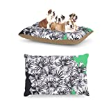 "Kess InHouse Sonal Nathwani ""Flowers on Green"" Fleece Dog Bed, 30 by 40-Inch For Sale"
