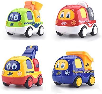 Beville Pull Back Cars for Toddler Boys & GirlsSet of 4 Pack Kids Early Educational Vehicles Includes Crane Forklift Dump Truck Cement Truck