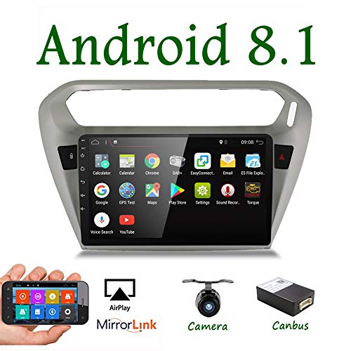 Android 8.1 Double Din Car Stereo 9 Inch Touch Screen Radio 2G RAM for Peugeot 301 2014 GPS Navigation with WiFi Mirror Link USB DAB FM AM 1080P Video Free Camera & Canbus