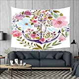 smallbeefly Watercolor Tapestry Wall Tapestry Nautical Anchor Covered by Flourishing Ivy Blossoms Romance Love Rose Image Art Wall Decor 60''x51'' Multicolor