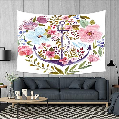 smallbeefly Watercolor Tapestry Wall Tapestry Nautical Anchor Covered by Flourishing Ivy Blossoms Romance Love Rose Image Art Wall Decor 60''x51'' Multicolor by smallbeefly
