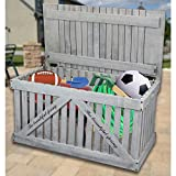 Gardenised Rustic Gray Wooden Outdoor Deck Box, Patio Storage Trunk