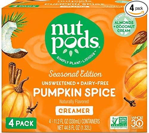 nutpods Pumpkin Spice Creamer, 4-pack. Whole 30, Dairy-Free, Zero Grams Sugar Per Serving. Vegan, Non_GMO, Paleo, Keto.