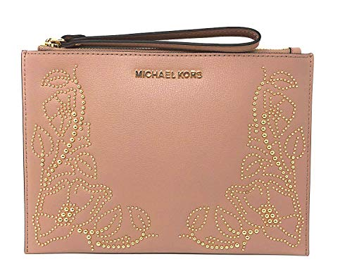 Michael Kors Nouveau Floral Women's Leather Large Zip Clutch Wristlet Wallet with Gold Toned Studs (Fawn) ()