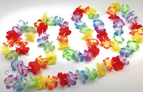 Luau Garland (Bright Jumbo Flower LUAU PARTY Lei Garlands (9 feet each) total of 27 Feet Luau Flower Garlands)