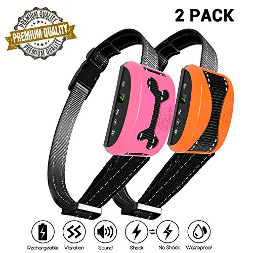 petamer 2 Pack Rechargeable Bark Collar No Shock/Shock/Vibration/Beep Electric Collar Waterproof Anti Barking Device