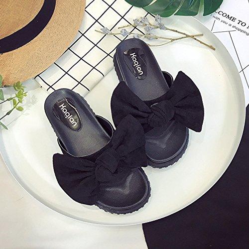 RUGAI-UE Cool zapatillas mujeres estudiantes de verano Anti-Skid plana una pajarita zapatos de mujer Black