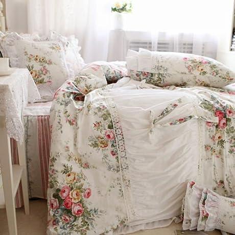 Swanlake Shabby And Elegant Kristen Roses Hand Pleated Ruffle Lace Bedding Set 1510 Cal King