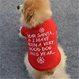 Pet Shirt,Haoricu Winter Christmas Dog Cotton Costume Small Dog Cat Pet Clothing Puppy T Shirt Apparel Warm Pullover High-grade Embroidered (S, Red)