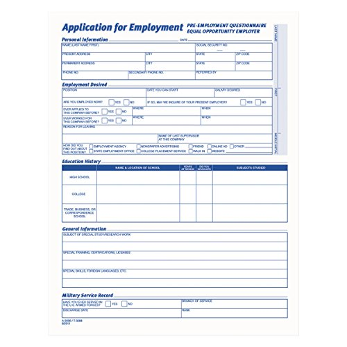Employment Application Form - TOPS 3288 Comprehensive Employee Application Form, 8 1/2 x 11 (Pack of 25 Forms)