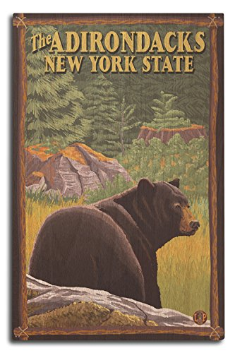Home Decor Adirondack - Lantern Press The Adirondacks, New York - Black Bear in Forest (10x15 Wood Wall Sign, Wall Decor Ready to Hang)