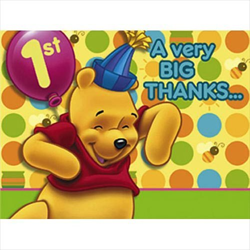 Hunny Pot Costume - Winnie the Pooh Balloon 1st Birthday Thank You Notes w/ Envelopes (8ct) by Hallmark