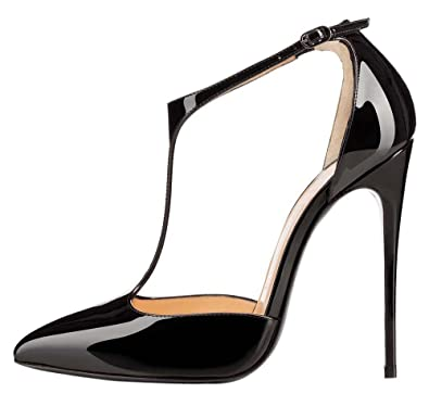 f41125a54bc8 yBeauty Womens High Heel T-Strap Sandals Stiletto Pointed Toe Pumps Solid Ankle  Strap Buckle