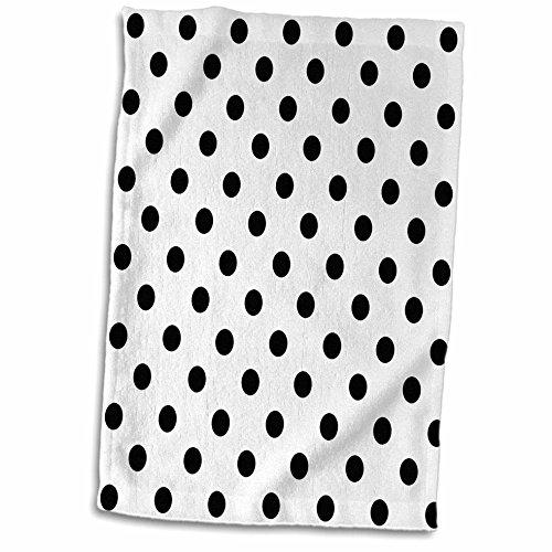 (3D Rose Black and White Polka Dot Print TWL_20402_1 Towel, 15