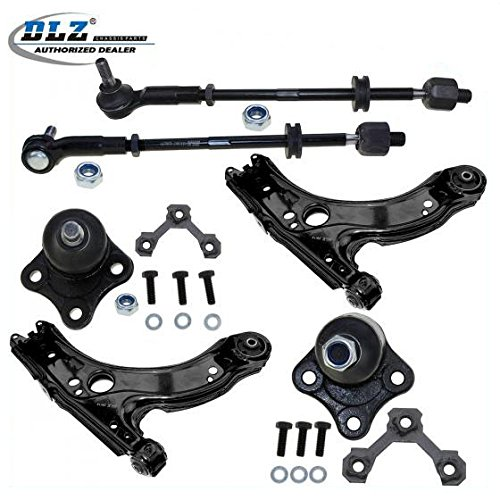 DLZ 6 Pcs Front Suspension Kit-2 Lower Control Arm 2 Lower Ball Joint 2 Inner 2 Outer Tie Rod End Assembly Compatible with 1998-2007 Beetle 1999-2004 Jetta Golf K90355 ES3709A