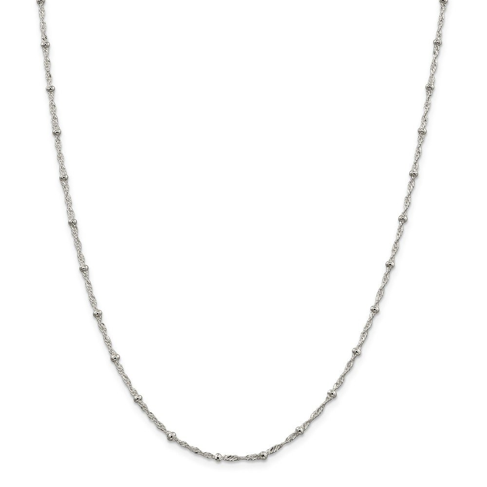 925 Sterling Silver 2.50mm Singapore with Beads Chain Necklace 24 Length
