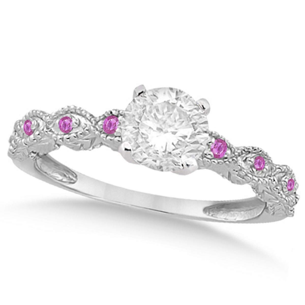 Ladies Vintage Diamond and Pink Sapphire Engagement Ring w