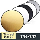 Collapsible Light Reflector, SAMTIAN 43-inch/110cm 5 in 1 Portable Multi-Disc Photography Reflector with Bag for Photo Studio Lighting & Outdoor Shooting (Silver, Gold, Black, White and Translucent)