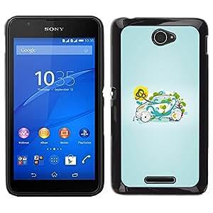 EJOY---Cubierta de la caja de protección para la piel dura ** Sony Xperia E4 ** --Inteligente Pequeño Verde Naturaleza