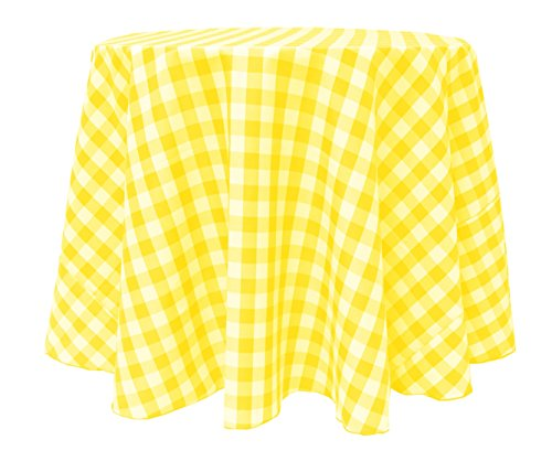 Ultimate Textile 114 Inch Round Polyester Checkered Tablecloth Lemon And  White By Ultimate Textile