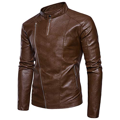 Leather Zipper Imitation Collar Khaki Jacket Coat Slanted Men Coat Zipper Leather Casual Tomatoa Coat Stand Men's Fashion Wild WUcP1Hcv7