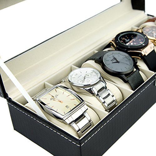 Watch Box 6 Black Mens Womens Leather Display Glass Top ...