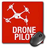 3dRose Red Drone with words UAV Pilot - Mouse Pad, 8 by 8 inches (mp_179916_1)