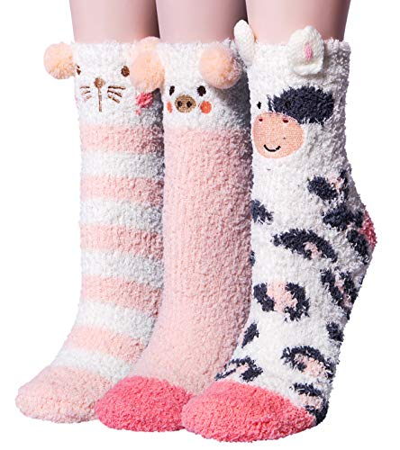 3 pairs womens super soft fluffy socks