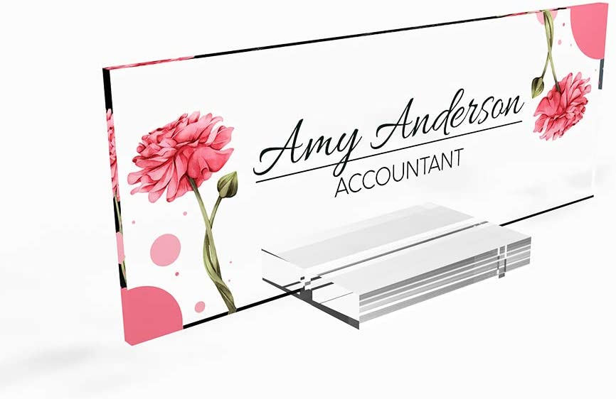 "Personalized nameplate Desk Decor Office Unique Gift Custom Logo tech Desk Custom Name Plate for him and her Occasion Gift for Teacher frineds (8""x2.5"") (Pink Rose)"