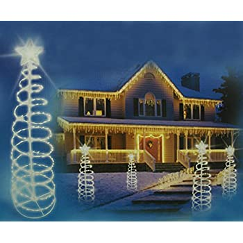 sienna 5 pure white led lighted outdoor spiral christmas tree yard art decoration - Spiral Lighted Christmas Tree