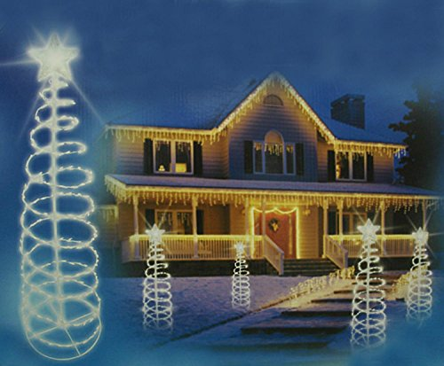 Sienna Clear Lighted Outdoor Spiral Christmas Tree Yard A...