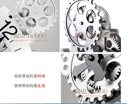 Retro wall gear clock, creative home mechanical wall clocks,20 inch silver by PINWEI (Image #1)