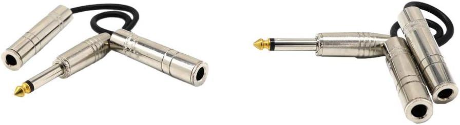 1 4inch TS 6.35mm Jack Est/é Macho A 1//4  6.35mm Dual Jack Adaptador De Audio Cable De Cable Splitter 0.2m Gazechimp 2 Unidades 6.35mm Splitter