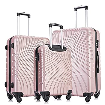 Image of Apelila 3 Piece ABS Luggage Sets with Spinner Wheels Hard Shell Spinner Carry On Suitcase(Rose Gold, 20 24 28 Inch 3 Pieces) Luggage